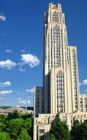 cathedrals: Spring shot of the Cathedral of Learning, in Pittsburgh, Pa Stock Photo