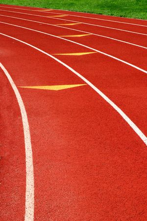 Artificial surface (polyurethane) 400m athletic track with clean fresh markings