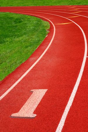 Artificial surface 400m athletic track with clean fresh markings Stock Photo - 6688345