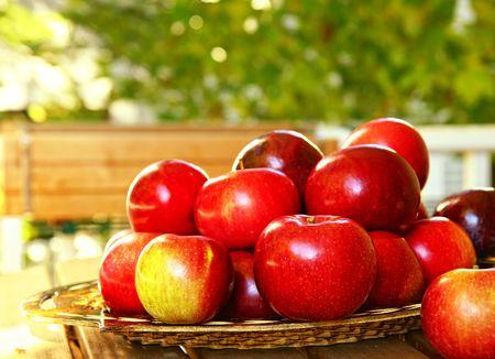 manzana roja: Manzanas recién recogidas en una cesta rústica