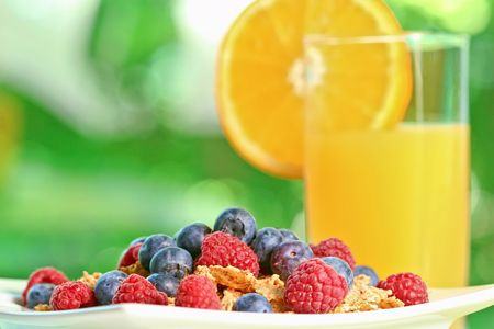 Glass of orange juice and bowl of berry cereal in an outdoor setting, with light filtering through the leaves.  Shallow depth of field.