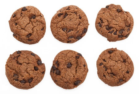 Chocolate chip cookies, six of them, all taste the same. Stock Photo