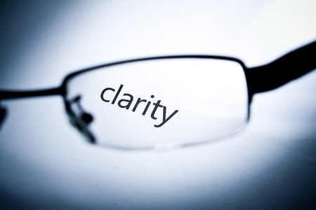 clarity: Word clarity viewed from a glasses.