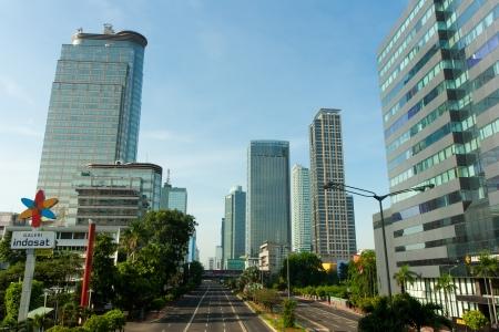 Thamrin Street, Jakarta, 21 september 2009. Een blik van een lege Jakarta. Redactioneel