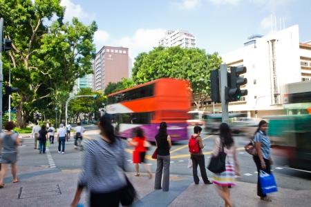 urbanized: Busy street in downtown Bugis, Singapore.