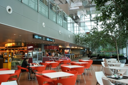 international food: One of many dining area in Changi International Airport, Singapore. Editorial