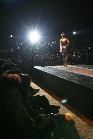 susan: Jakarta, October 22, 2009. Model posing at the center of the stage in a Susan Budihardjo fashion show, lighted by a spotlight.