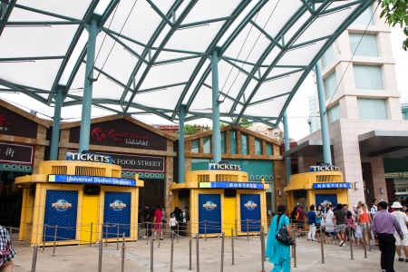 Universal Studios Ticket Booths near Universal Studios Sentosa Resorts World, Singapore.