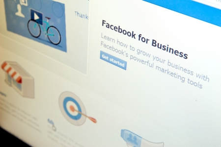 advertising network: Facebook for Business page in Facebook social media website. Editorial