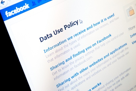 Data Use Policy page in Facebook social media website.