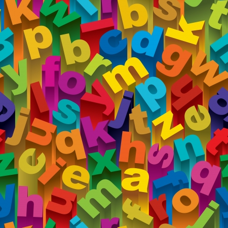 Seamless pattern of three dimensional colorful alphabet letters  Vector