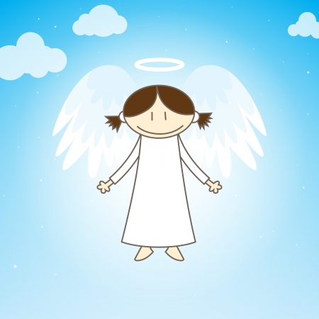 Angel in the form of young girl hovering in the sky  Vector
