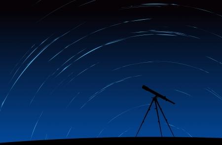 hosszú expozíció: Sziluettje távcső álló mozgó csillagok a háttérben Illusztráció