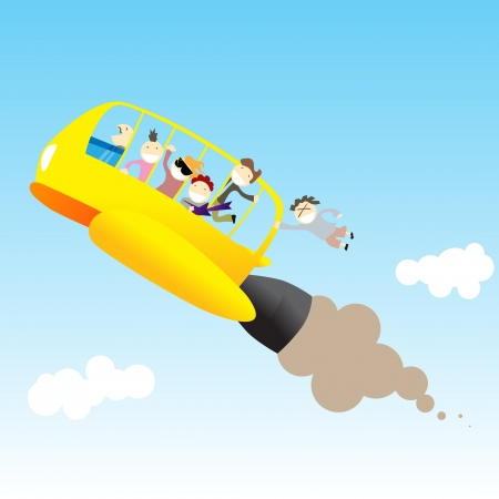 Rocket bus full of teenagers flying through the sky