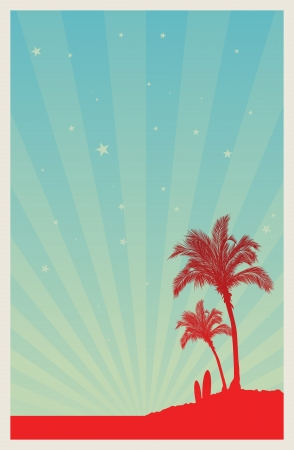 cartoon surfing: Poster template of a beach with palm trees and surfing boards, sky full of stars.