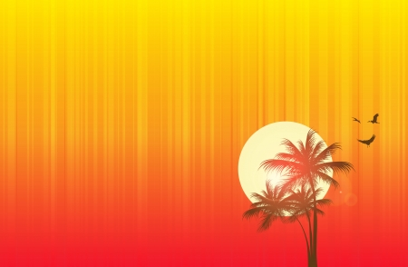 beach sunset: Scene of beach at sunset in a hot summer  Illustration