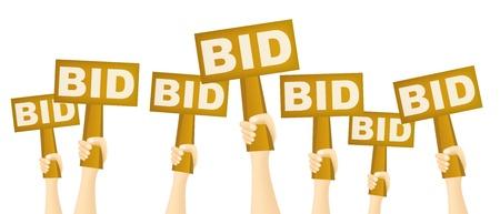 Manos que sostienen signo BID a comprar a subasta