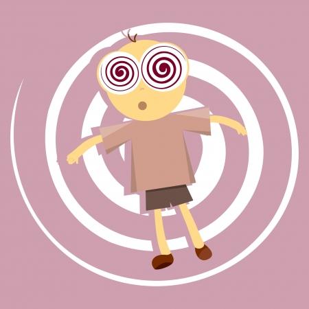 Brainwashed jongen in trance-achtige vegetatieve toestand Stock Illustratie