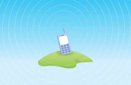 transmitting: Mobile phone transmitting signal from an isolated island