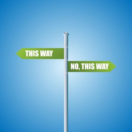 모순 된 방향을 보여주는 도로 표지판