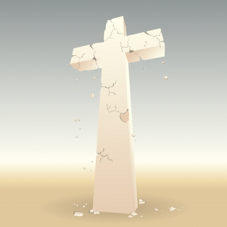 crumbling: Once golden cross lost its glory, decaying and crumbling in a dry environment