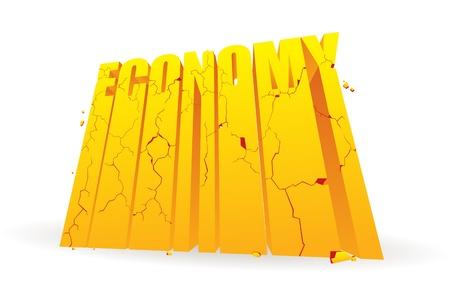 disintegrating: Golden economy word blocks crumbling and breaking apart