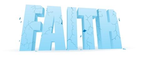 disintegrating: Word  faith  cracking and crumbling  Illustration