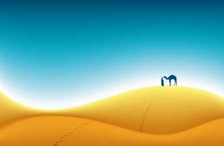 dryness: Lone traveler with his camel crossing the dry hot desert  Illustration