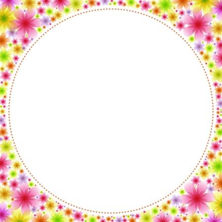 Square frame full of flowers