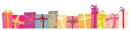 arranged: Gifts and presents arranged to be a footer on your design