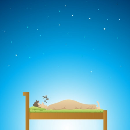Adult male having a deep sleep at night  Vector