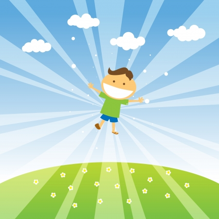 blissful: Smiling boy jumping in the blue sky of spring  Illustration