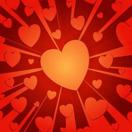 Los corazones rojos en un fondo de zoom en el estilo Ilustración de vector
