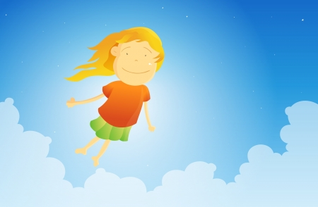 Young girl hovering and flying in the sky  Vector