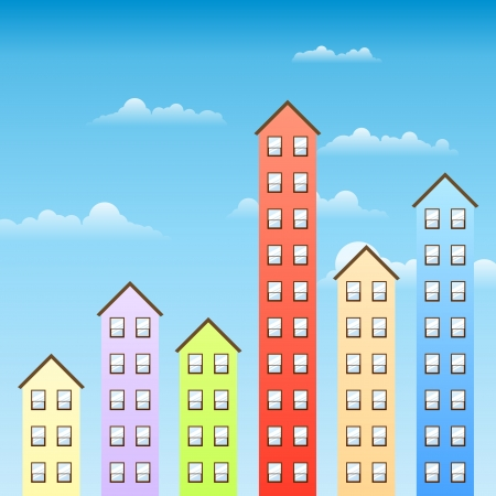 upward: Several building of varying height similar to upward graphics to illustrate property value