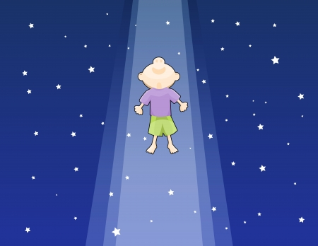 One boy lifted up to the dark starry sky, looking ecstatic and marveled  Vector