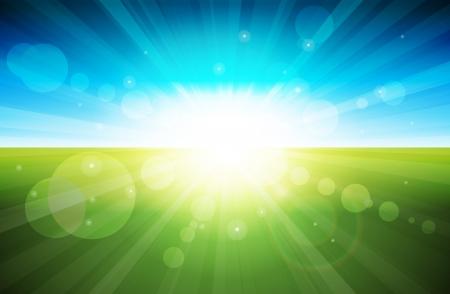 Straal van lichten in de glorieuze ochtend Stock Illustratie