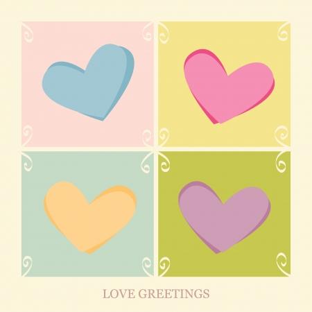 gentillesse: Quatre coeurs sur une carte postale amour Illustration