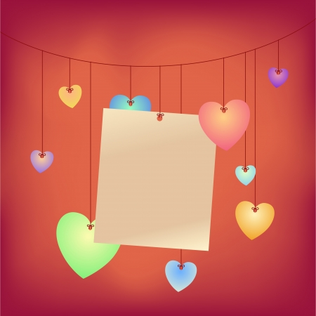 Love note hanging on rope with heart shapes Stock Vector - 14716862