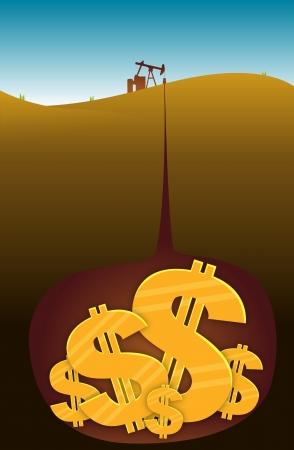 Oliebron extraheren dollar van onder de aarde Stockfoto - 14717044