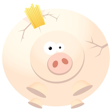 Poor cracking piggy bank due to overloaded with gold coins  Vector