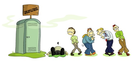 persistence: Several people waiting in agony to use the portable toilet  Illustration
