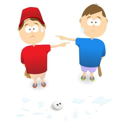 honestidad: Dos niños que culpan mutuamente de romper una ventana Vectores