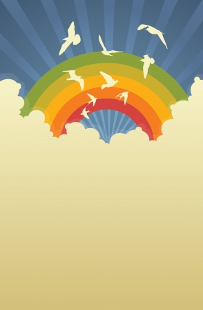rainbow background: Portrait template of cloudy sky with rainbow and birds  Illustration