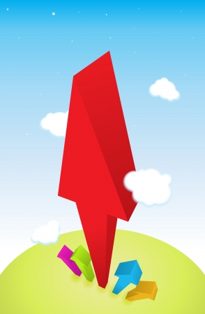 surpassing: Red arrow growing high surpassing others