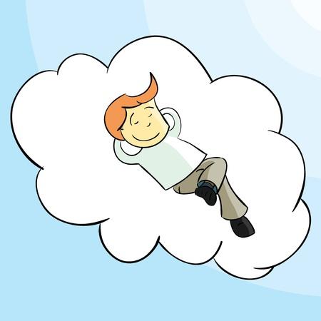 ignorancia: El hombre se relaja en una nube sin caer Vectores