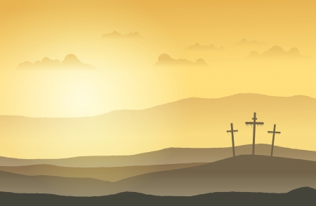 Crosses: Three crucifixion cross standing on top of the hills  Illustration