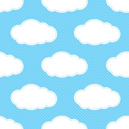 Seamless cloud pattern in blue cyan square