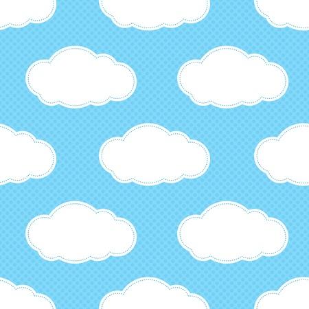 blue clouds: Seamless cloud pattern in blue cyan square