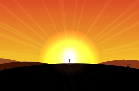 gratitudine: L'uomo in piedi davanti al sole che sorge, appaiono liberati o ordinare